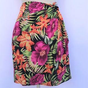 Wrap Around Floral Print Vintage Skirt